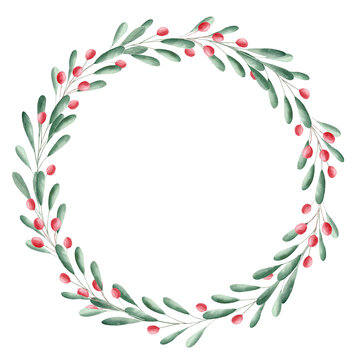 Watercolor greenery and red berries wreath. Christmas clipart.