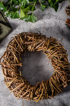 Christmas wreaths of cones and leaves