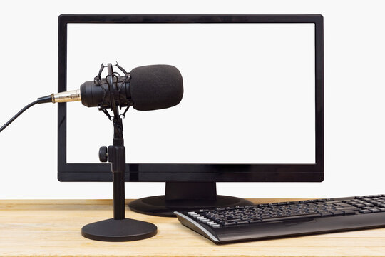 Condenser microphone on a computer background