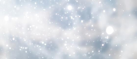 Fototapeta blue snowfall bokeh background, abstract snowflake background on blurred abstract blue
