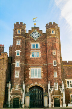 St James's Palace a Tudor royal castle built in 1536 in London England UK which is a popular travel destination tourist attraction landmark of the city, stock photo image