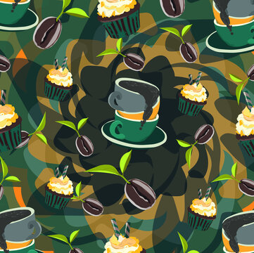 Illustration with cups of coffee and sweets on the orange and blue background