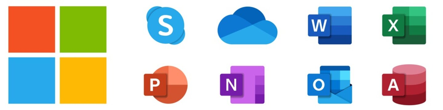 Microsoft office. Isolated windows logotype. Skype, word, excel, powerpoint, outlook, onenote, and onedrive icons. Editorial set of microsoft office icons. Vector. Rivne, Ukraine - November 14, 2020.