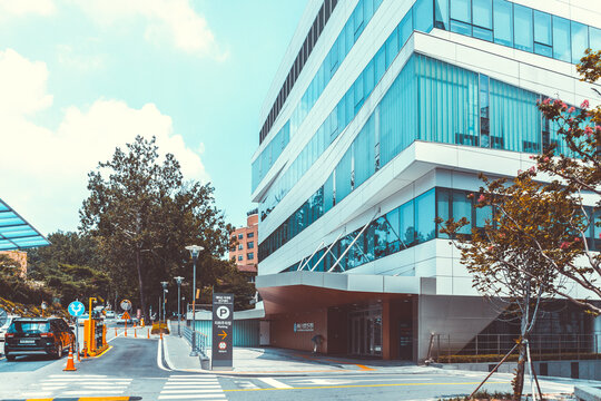 SEOUL, SOUTH KOREA - AUGUST 12, 2015: One of newest buildings of Severance hospital of Yonsei University - very prestigious high end hospital - Seoul, South Korea