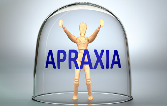Apraxia can separate a person from the world and lock in an invisible isolation that limits and restrains - pictured as a human figure locked inside a glass with a phrase Apraxia, 3d illustration