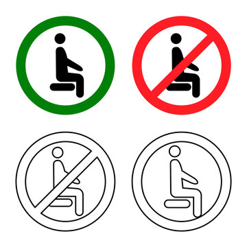 Distancing sitting. Sit here, please. Do not sit here. Forbidden icon for seat. Prohibition sign. Lockdown rule. Keep your distance when you are sitting. Man on the chair. Vector