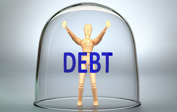 Debt can separate a person from the world and lock in an invisible isolation that limits and restrains - pictured as a human figure locked inside a glass with a phrase Debt, 3d illustration