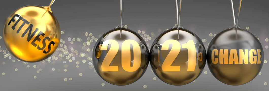Fitness as a driving force of change in the new year 2021 - pictured as a swinging sphere with phrase Fitness giving momentum to 2021 that leads to a change, 3d illustration