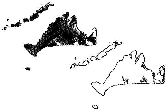 Dukes County, Commonwealth of Massachusetts (U.S. county, United States of America, US) map vector illustration, scribble sketch Martha's Vineyard, Chappaquiddick, Elizabeth and Nomans Land island map