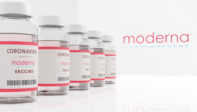 Guilherand-Granges, France - November 14, 2020. Covid-19 vaccine with Moderna logo. American biotechnology company that focus on drug development and vaccine technologies.