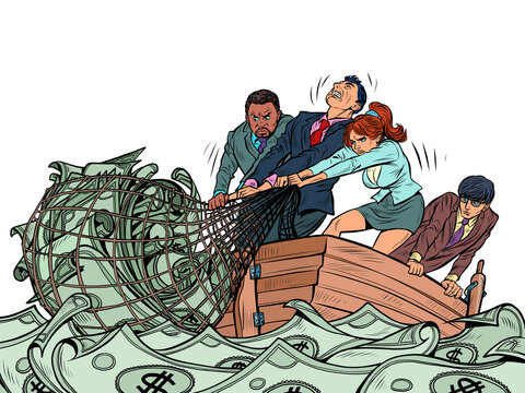 The business team makes a financial profit, like fishermen catching money in a net