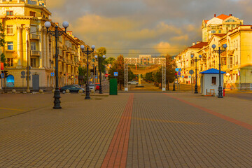 Urban landscape, the city of Novorossiysk intersection of streets of the World and the Novorossiysk Republic paved with paving stones Fotomurales