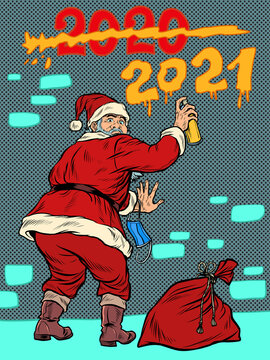 Santa Claus graffiti meets new year 2021 and crosses out the year 2020
