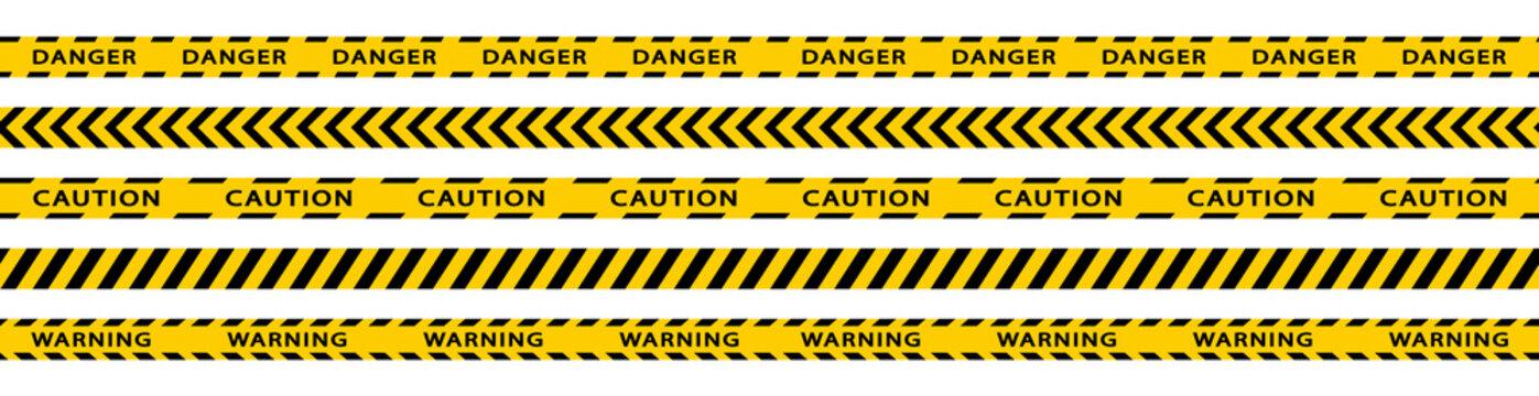 Warning stripes set. Danger tapes. Yellow stripes border. Caution tape. Do not cross.