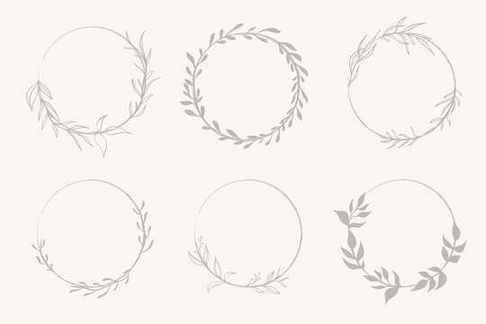 Set of doodle hand drawn decorative wreath with branch, herb, plant, leave and flower, floral.