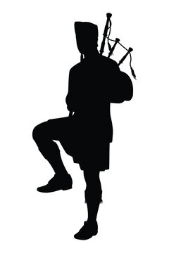 Scottish man bagpipers in traditional dress silhouette vector on white background