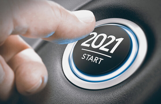 Engine start button with a sign 2021. New Year.