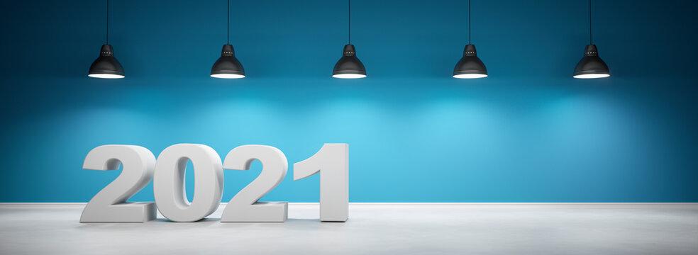 Zahl 2020 vor petrolfarbener Wand mit 5 Lampen