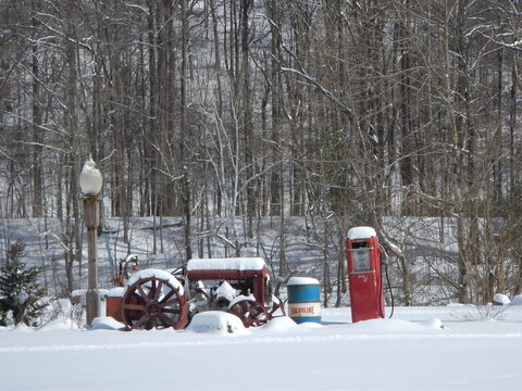Old Tractor in a Winter Scene