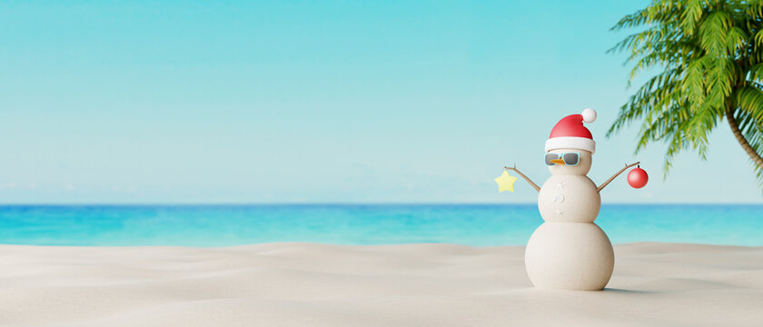 Snowman made from sand on beautiful tropical beach. Summer New year concept 3d render 3d illustration