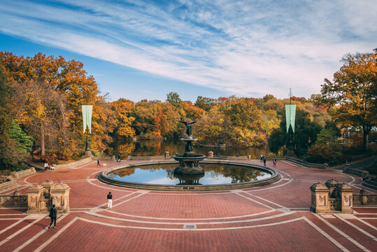 Autumn color at the Bethesda Fountain, in Central Park, Manhattan, New York City