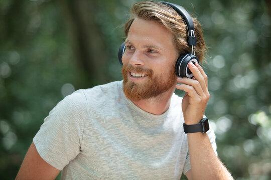 happy hiker listening to music