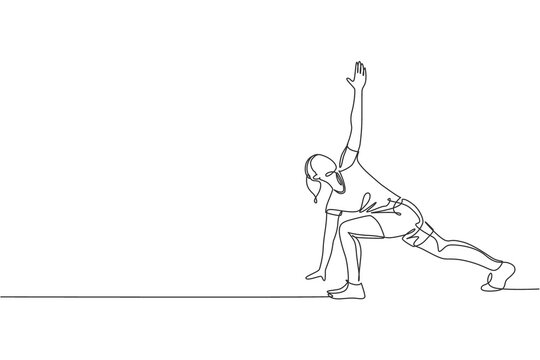 Single continuous line drawing of young sportive woman training side lunge windmill pose in sport gymnasium club center. Fitness stretching concept. Trendy one line draw design vector illustration