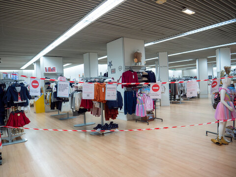 Paris, France - Nov 9, 2020: Closed by the order of the government clothes departments in supermarkts - banned supermarkets from selling clothes in a bid to parry claims of unfair competition