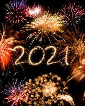 2021 New Year fireworks background
