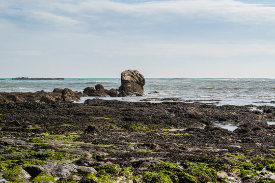 Vendée, FRANCE, photo of the reefs and rocks of Bretignolles Sur Mer.