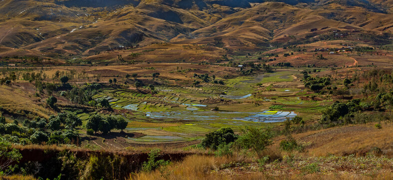 Anja national park terraced cultivations landscape on a sunny day