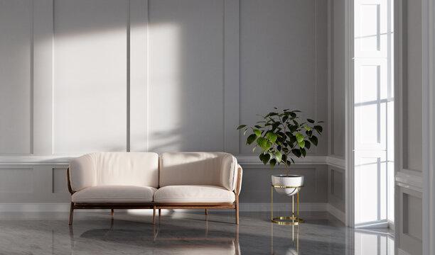 Classic empty interior apartment with sofa monstera plant.