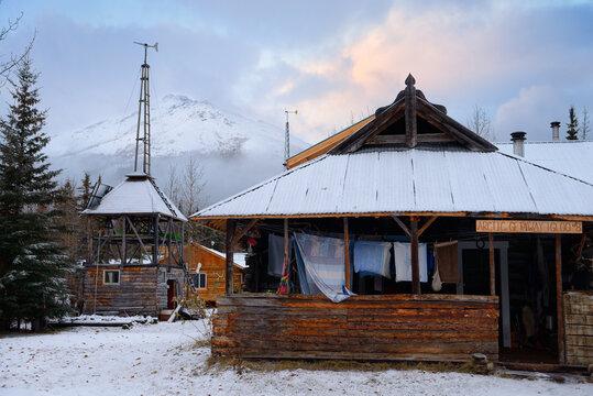 Bed and Breakfast lodges in Wiseman Alaska at dawn Wiseman, Alaska - October 14, 2013