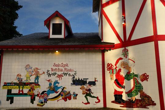 Christmas scenes in ceramic tiles at the Santa Claus House at SantaLand North Pole, Alaska - October 21, 2013