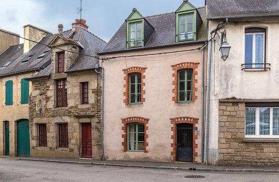 Josselin, France. Facades of old buildings