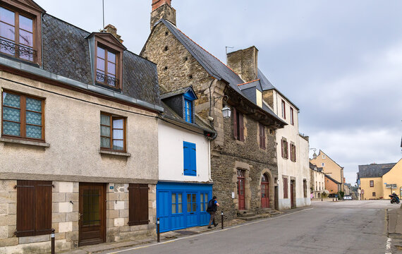 Josselin, France. Street in the old town in cloudy weather