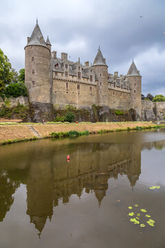 Josselin, France. Scenic view of the castle and its reflection in the river