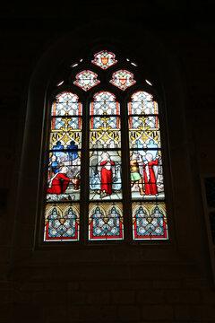 Josselin, France. Beautiful stained glass window in the Notre-Dame du Roncier Basilica