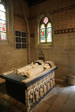 Josselin, France. Headstone in the Notre-Dame du Roncier Basilica