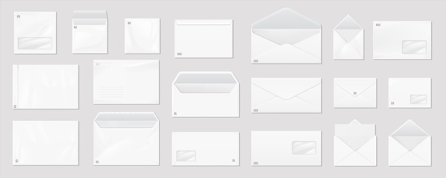 White envelope. Realistic mail mockup. Blank paper correspondence package for corporate branding and advertising. Open and close letters with size marking and place for address. Vector postage set