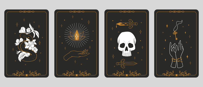 Tarot cards. Magic boho banners. Vintage spiritual signs, mystic or esoteric symbols. Fortune telling and predicting future. Retro posters with drawn skull, snake and hands. Vector occult flat set