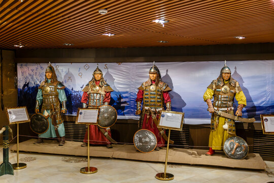 Tsonjin boldog, Mongolia - September 14, 2018: Wax figures of the sons of Genghis Khan in the Museum of the Statue of Genghis Khan in Tsonjin boldog.