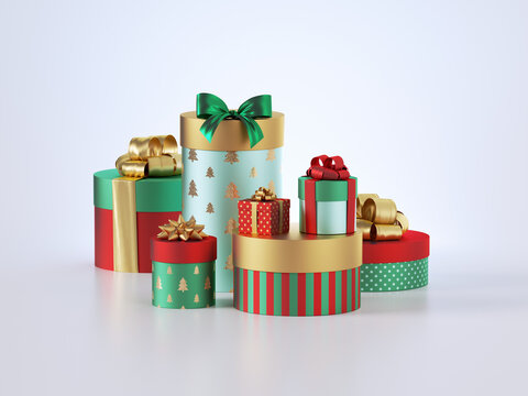 3d render, Christmas gifts, stack of assorted gift boxes. New year gifts. Festive clip art isolated on white background