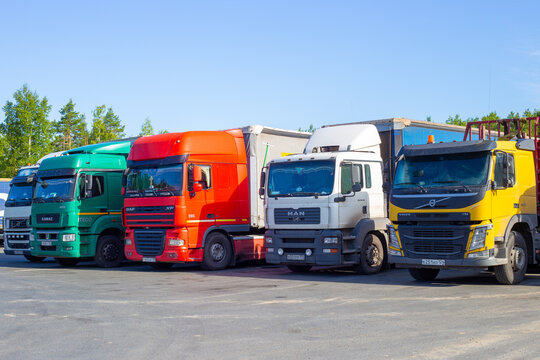 multicolored trucks stand in a row in a parking lot, long distance cargo transportation