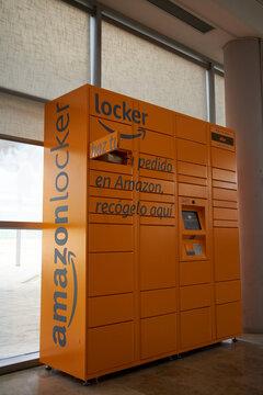 TARRAGONA, SPAIN - JANUARY 2019: Amazon locker with package ready to pick up