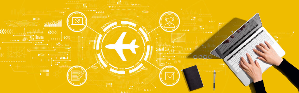 Flight ticket booking concept with person working with a laptop