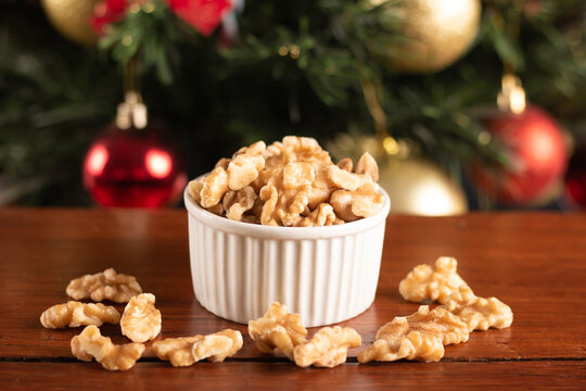Traditional christmas food walnuts. Christmas Party Decoration.