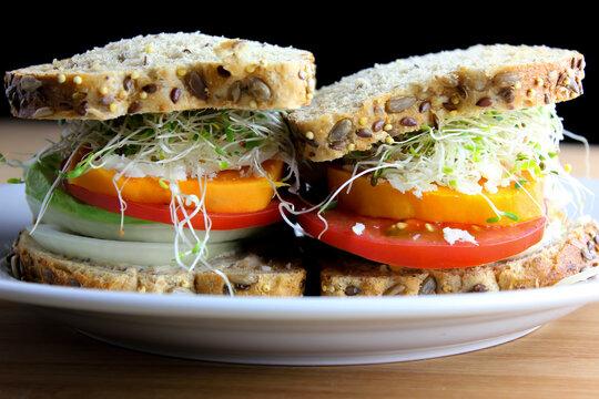 Mozzarella, Tomato & Fresh Basil Sandwiches