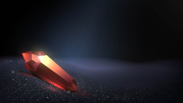 Red magic crystal in a dark cave on black sand. Philosopher's stone or fantasy artifact