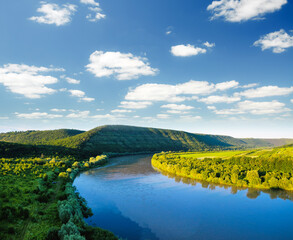 Wall Mural - Attractive top view of the Dniester river valley.